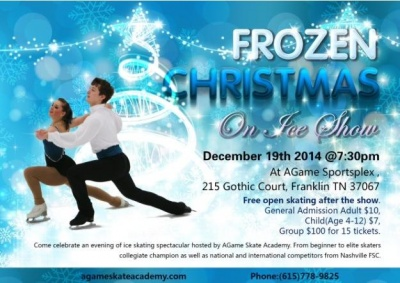 Frozen Christmas Show on Ice featuring figure skaters and holiday favorites