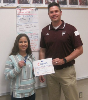 Franklin High student awarded after saving her father's life