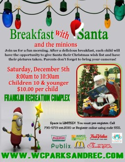 Breakfast with Santa offers photo, Minions encounter