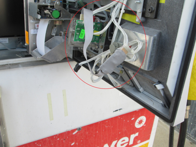 Gas station manager finds data theft device wired into gas pump