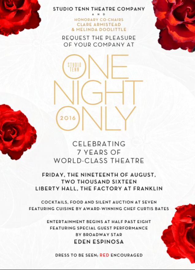 Studio Tenn's One Night Only gala set for Aug. 19